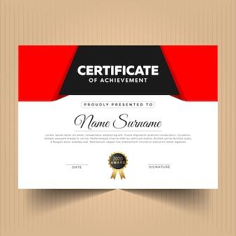 Certificado de modelo de design de apreciação com cores vermelhas
