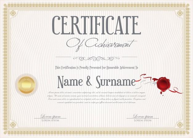 Certificado de modelo de design retro de conquista