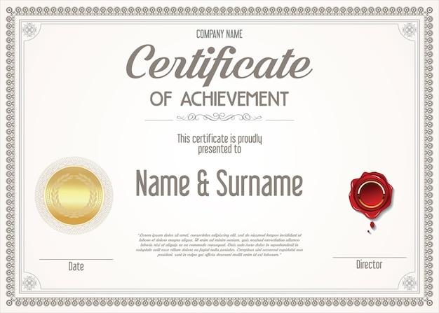 Certificado de modelo de design retro de realização
