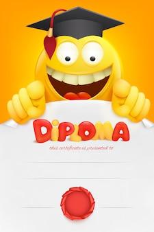 Certificado de modelo de diploma com o personagem de desenho animado amarelo emoji sorridente. .