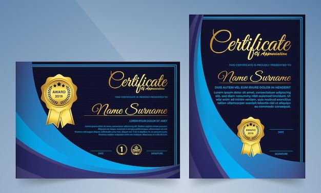Certificado de modelo de prêmio em azul escuro elegante