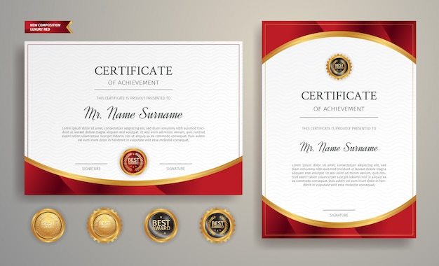 Certificado de modelo de prêmio, ouro e cor vermelha com emblemas