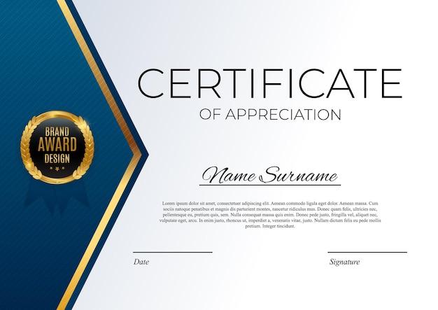 Certificado de modelo de realização azul e dourado com emblema de ouro e borda. projeto de diploma de prêmio