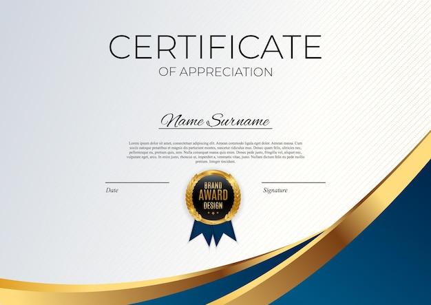 Certificado de modelo de realização azul e dourado