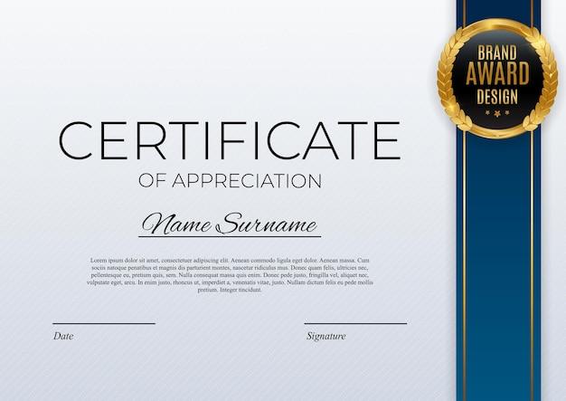 Certificado de modelo de realização com emblema de ouro e borda. projeto de diploma de prêmio