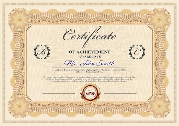 Certificado de modelo de realização, design ornamentado de fronteira de diploma. moldura oficial de premiação, documento em papel para apreciação do vencedor ou formatura com selo dourado e local para nome e sobrenome