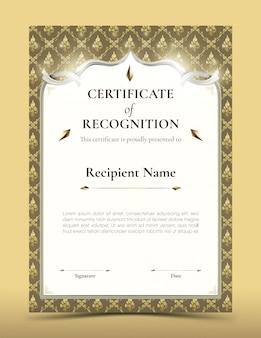 Certificado de modelo de reconhecimento com borda de padrão tailandês tradicional ouro