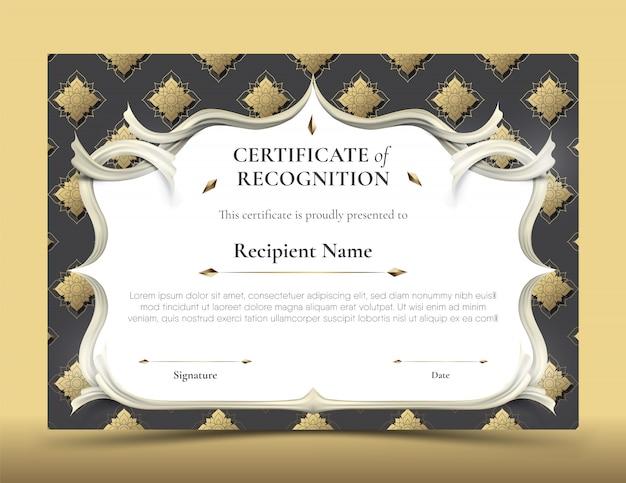 Certificado de modelo de reconhecimento com borda de padrão tailandês tradicional preto e dourado