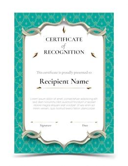 Certificado de modelo de reconhecimento com borda tradicional turquesa padrão tailandês