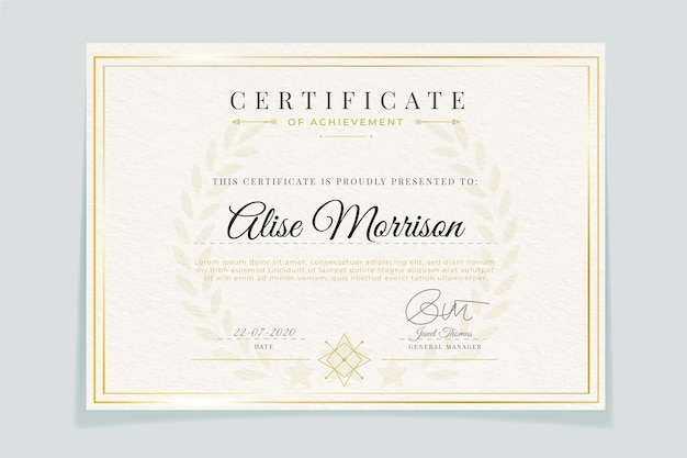 Certificado de modelo elegante com moldura