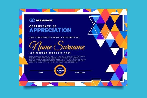 Certificado de mosaico abstrato de design plano