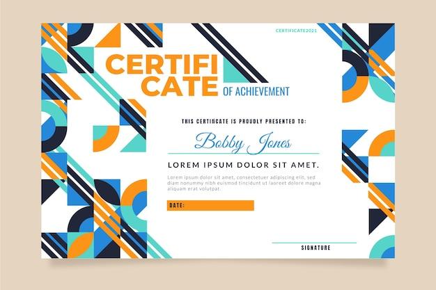 Certificado de mosaico de design plano