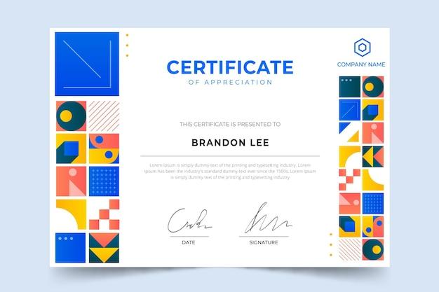 Certificado de mosaico gradiente