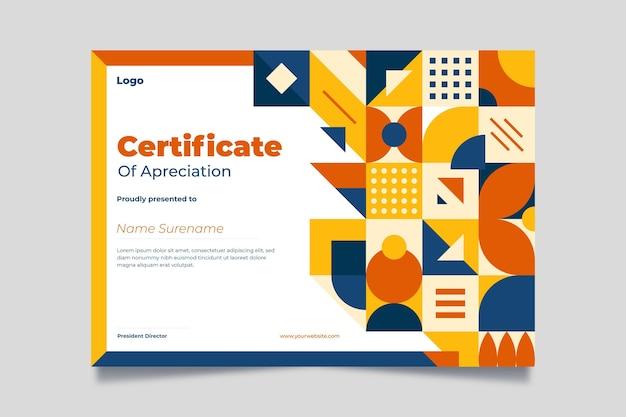 Certificado de mosaico plano