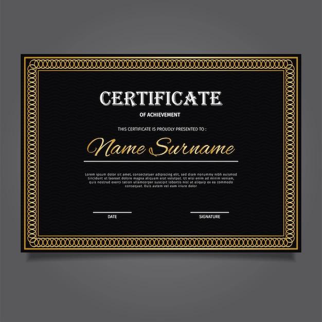 Certificado de ouro com uma elegante mistura de preto e dourado
