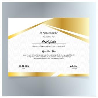 Certificado de ouro da apreciação