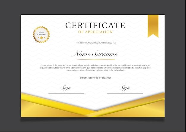 Certificado de ouro de luxo