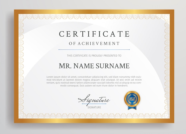 Certificado de ouro e azul do modelo de fronteira conquista com tamanho a4 de crachá