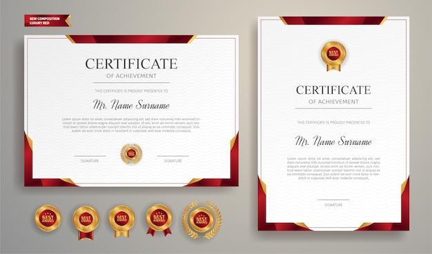 Certificado de ouro e vermelho de luxo com crachá de ouro e modelo de fronteira