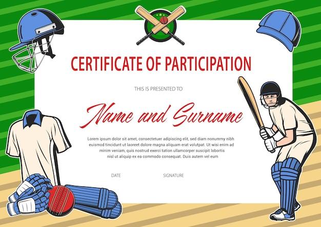 Certificado de participação em torneio de críquete
