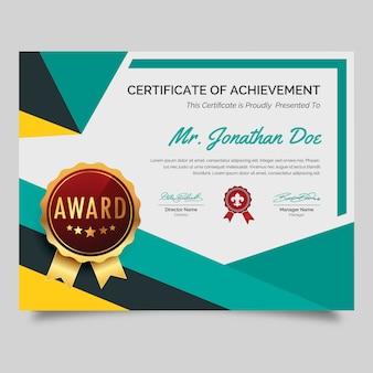 Certificado de prêmio colorido