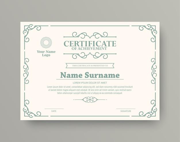 Certificado de prêmio de estilo clássico com moldura