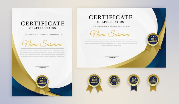 Certificado de prêmio elegante ouro azul moderno com emblemas
