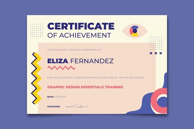 Certificado de prêmio eliza de design geométrico criativo