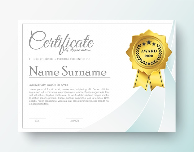 Certificado de prêmio moderno na cor branca