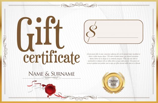 Certificado de presente com selo dourado e borda de design