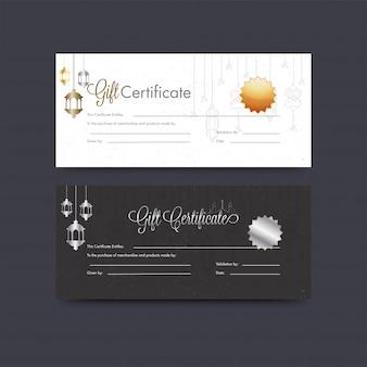 Certificado de presente horizontal ou layout de comprovante definido com pendurar l