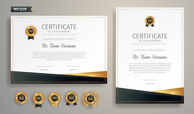 Certificado de preto e dourado do modelo de fronteira de conquista com distintivo de luxo e padrão de linha moderna