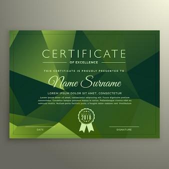 Certificado de projeto excellance com formas abstratas poli verdes