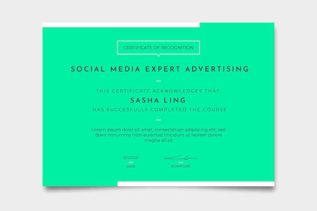 Certificado de publicidade especialista em mídia social monocolor minimalista