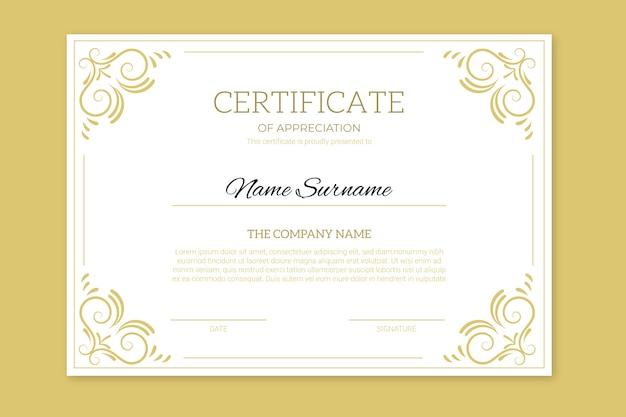 Certificado de realização com molduras douradas