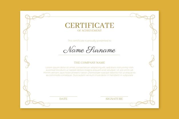 Certificado de realização com molduras elegantes