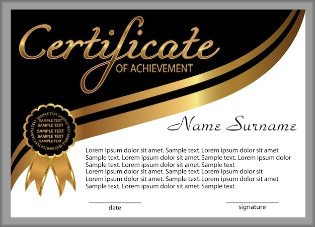 Certificado de realização, diploma. elementos decorativos de ouro e preto.