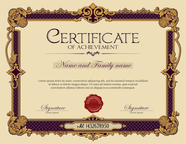 Certificado de realização do quadro de ornamento vintage