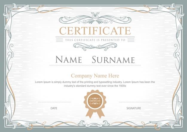 Certificado de realização floresce templa elegante vector vintage