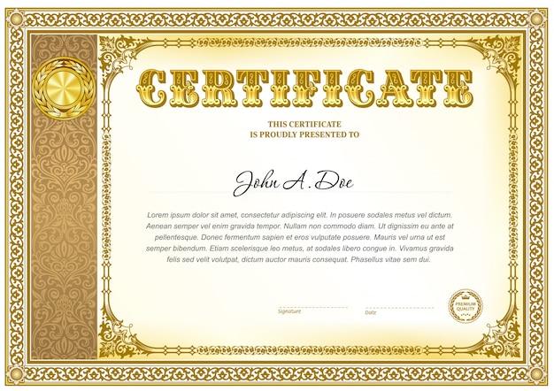 Certificado de realização modelo em branco.