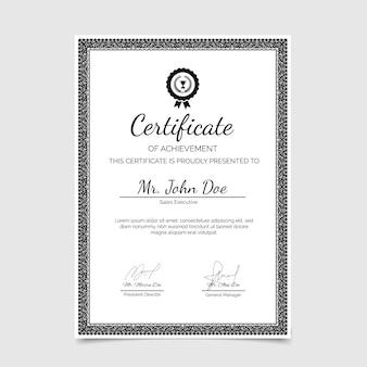 Certificado de realização ornamental desenhado à mão