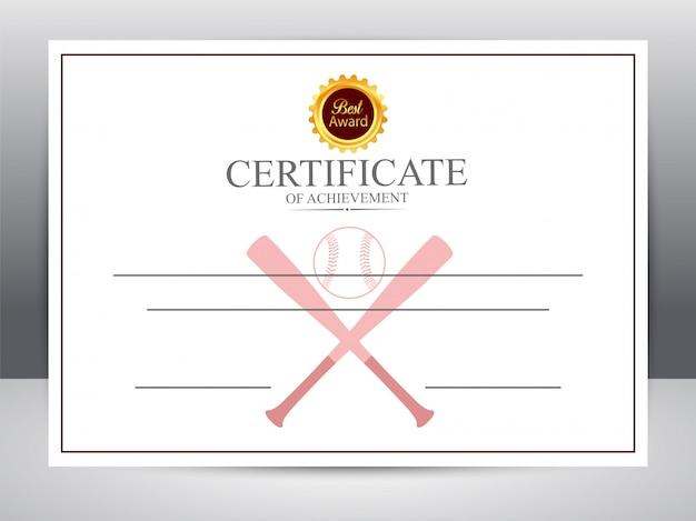 Certificado de realização para esportes de beisebol