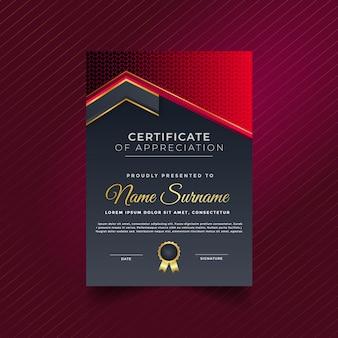 Certificado de realização premium abstrato exclusivo