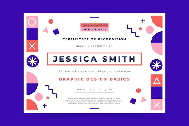 Certificado de reconhecimento moderno de design plano