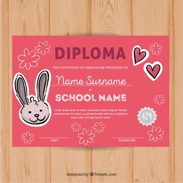 Certificado de-rosa da graduação com coelho e flores