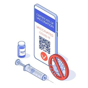 Certificado de vacinação em app no telefone e passaporte imunológico de vacina e seringa covid19