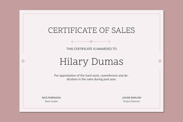 Certificado de vendas de prêmio ornamental minimalista