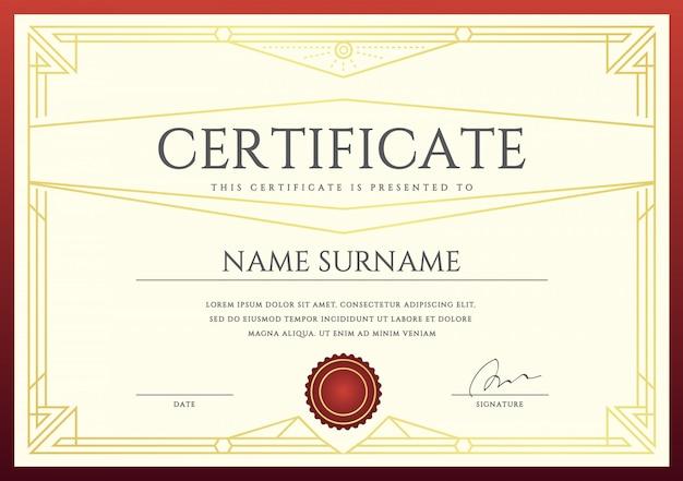 Certificado de vetor ou modelo de diploma pronto para impressão