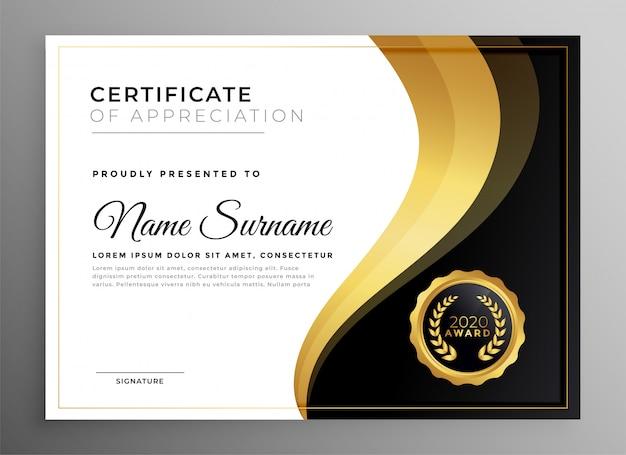 Certificado dourado de agradecimento pelo design multiuso