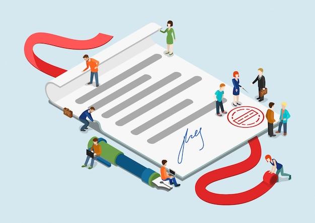 Certificado e ilustração isométrica do conceito de mini pessoas casuais. pequenos empresários em torno da folha de papel exagerado com carimbo e assinatura.